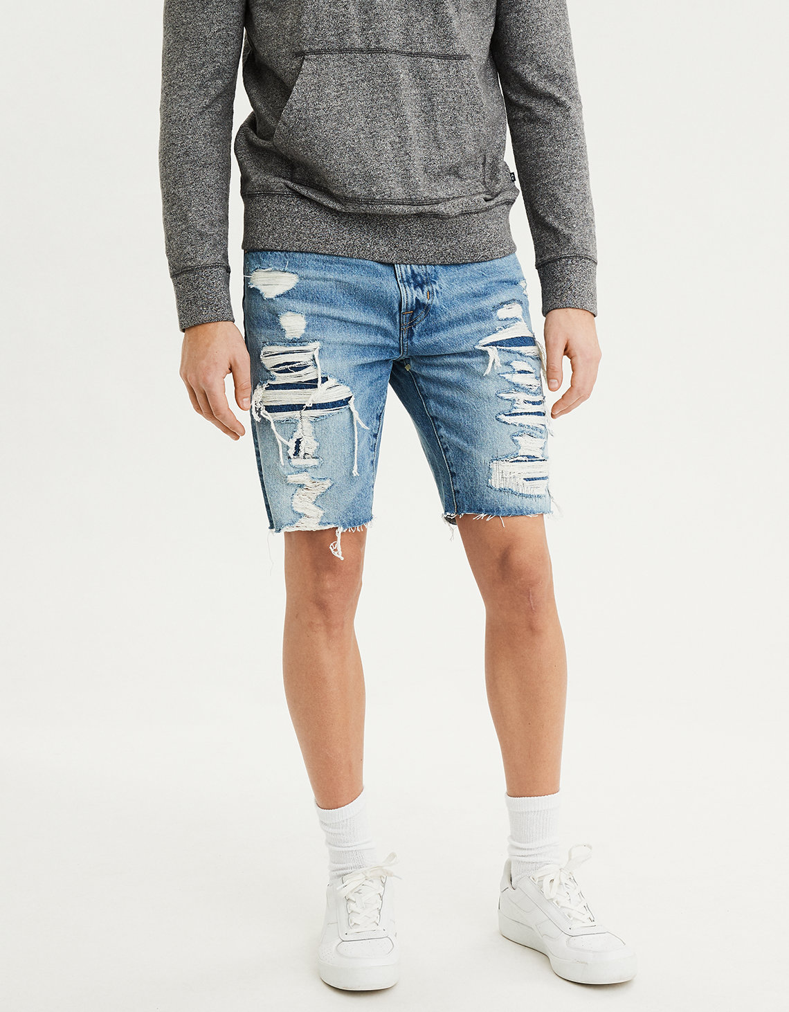 aa42084b AE Jean Short, Destroyed Medium Wash | American Eagle Outfitters