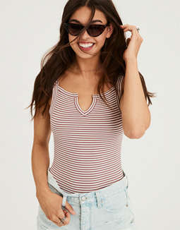 Ae Soft & Sexy Ribbed Tank Top Bodysuit by American Eagle Outfitters