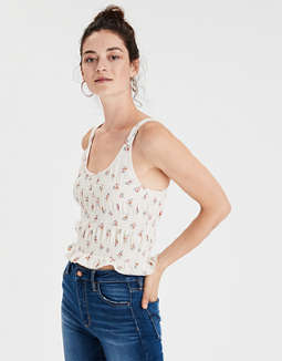 Ae Smocked Cropped Tank Top by American Eagle Outfitters