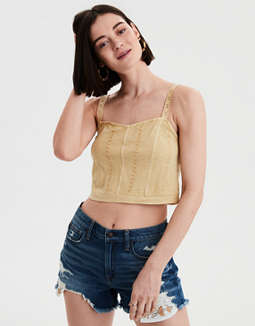 AE Embroidered Cropped Tank Top