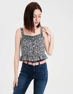 AE Smocked Button Front Crop Top