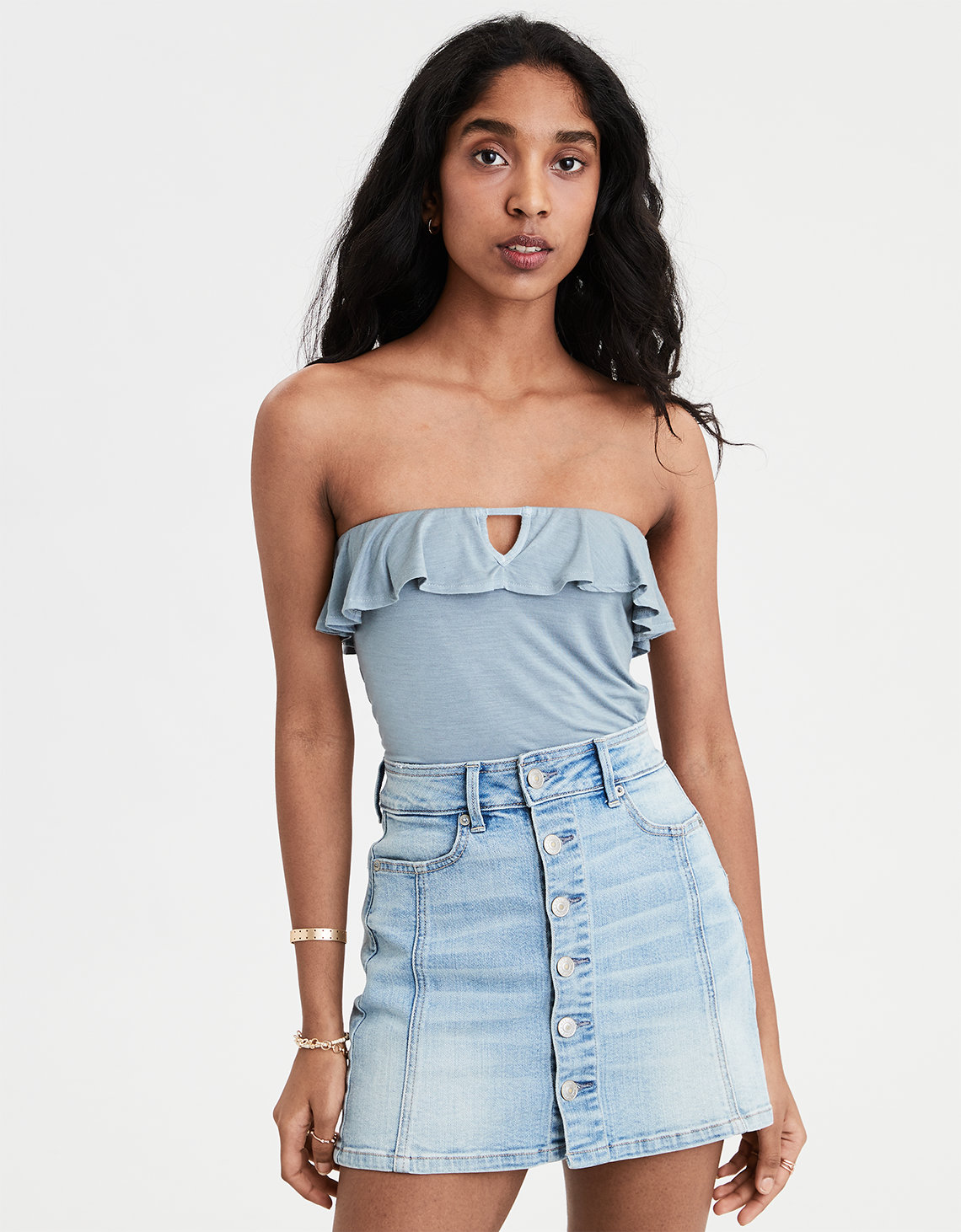 5de896c0b29f AE Soft & Sexy Ruffle Tube Top, Light Blue   American Eagle Outfitters