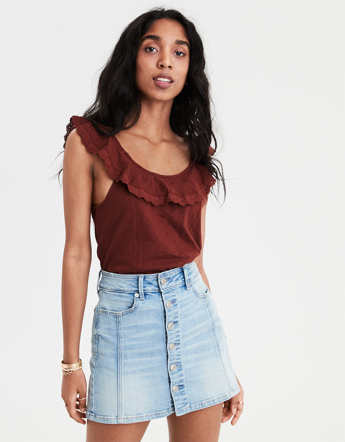 212a3592782 AE Ruffle Overlay Tank Top. Placeholder image. Product Image
