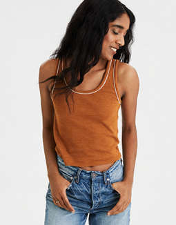 AE Contrast Cropped Tank Top