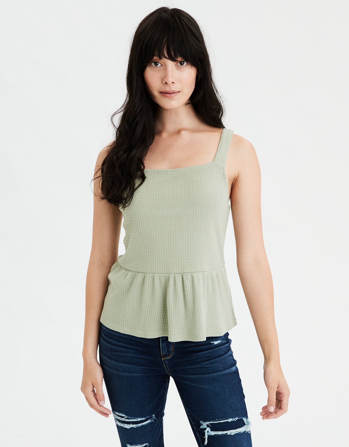 AE Square Neck Peplum Tank Top