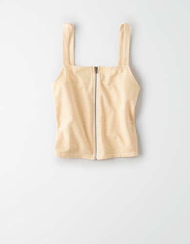 AE Zip Front Cropped Tank Top