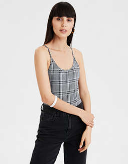 AE Plaid Scoop Neck Body Suit