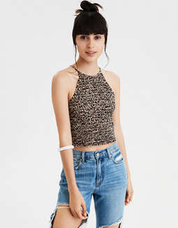 AE Leopard Print Smocked Tank Top