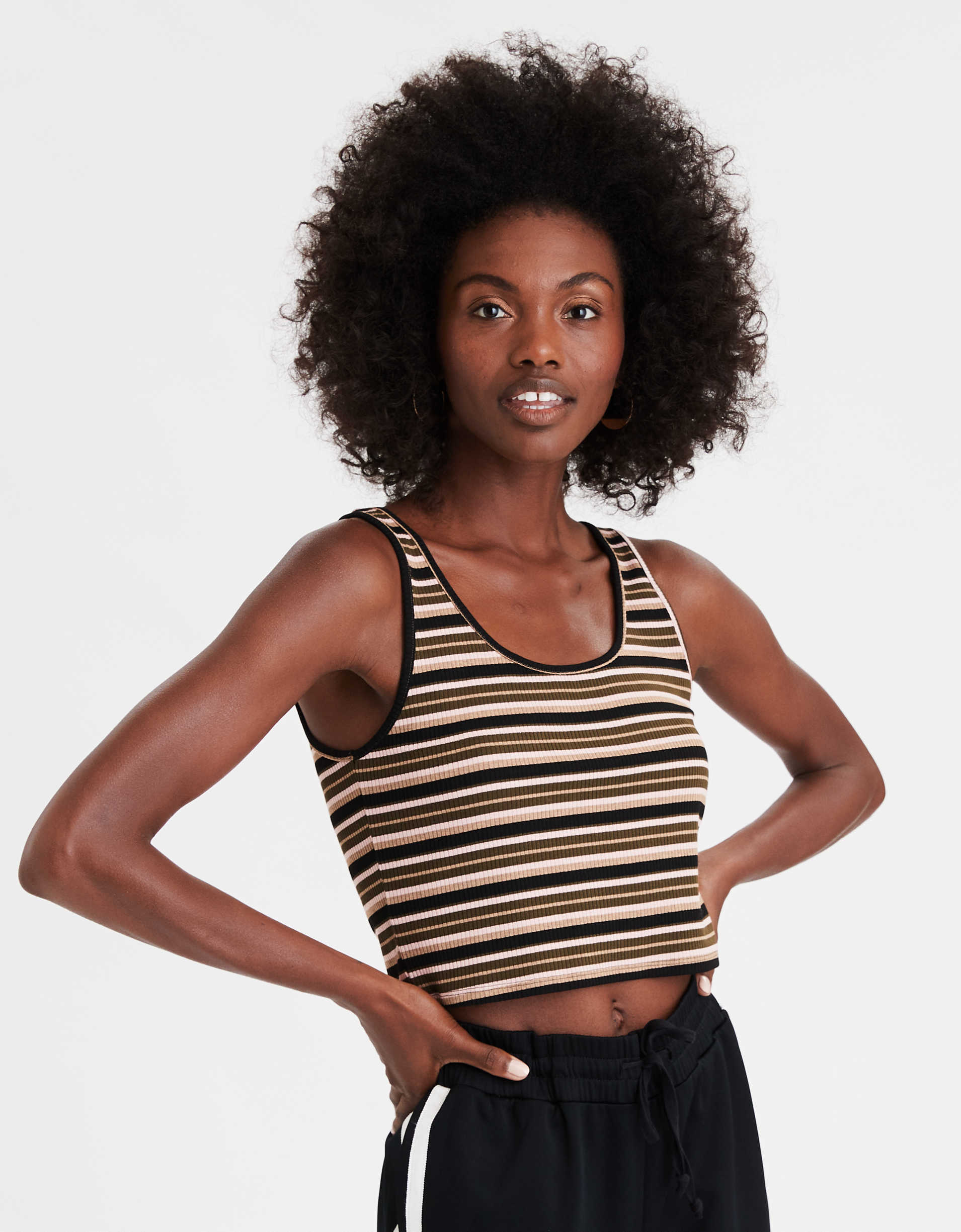 AE Striped Scoop Neck Tank Top