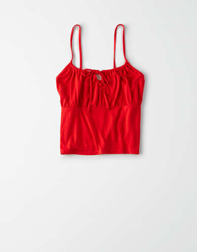 AE Tie Front Cropped Tank Top