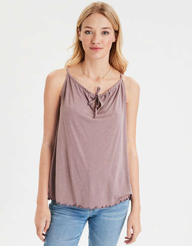 AE Tie Front Swing Tank Top