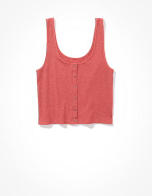 AE Cropped Snap-Front Tank Top