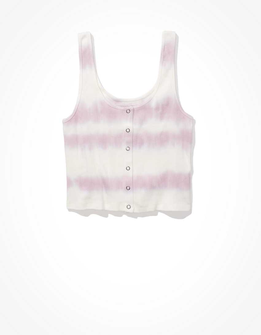 AE Cropped Tie-Dye Snap-Front Tank Top