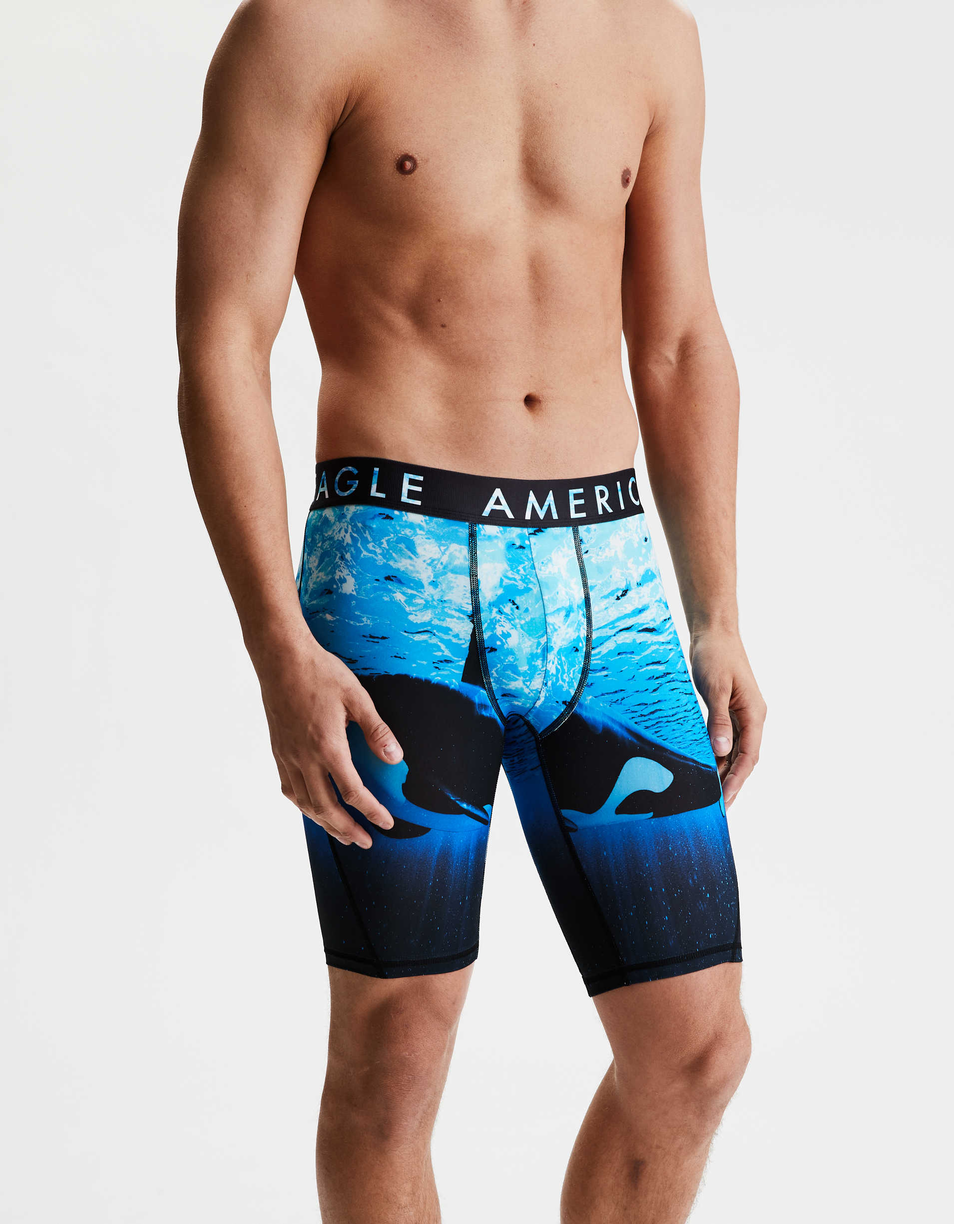 "AEO Photoreal Whale 9"" Flex Boxer Brief"