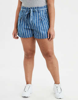 Super High-Waisted Striped Paperbag Short