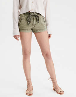 High-Waisted Tie Waist Linen Short
