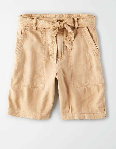 AE High-Waisted Linen Taper Bermuda Short