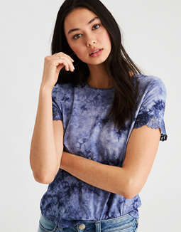 Ae Soft &Amp; Sexy Tie Dye Lace Trim T Shirt by American Eagle Outfitters