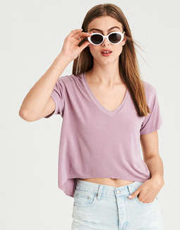 Ae Soft &Amp; Sexy Oversized V Neck Crop Tee by American Eagle Outfitters