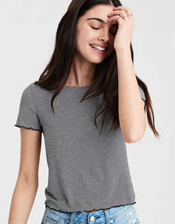 Ae Soft & Sexy Lettuce Trim Baby Tee by American Eagle Outfitters