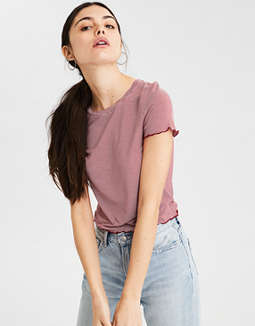 Ae Soft &Amp; Sexy Lettuce Trim Baby Tee by American Eagle Outfitters