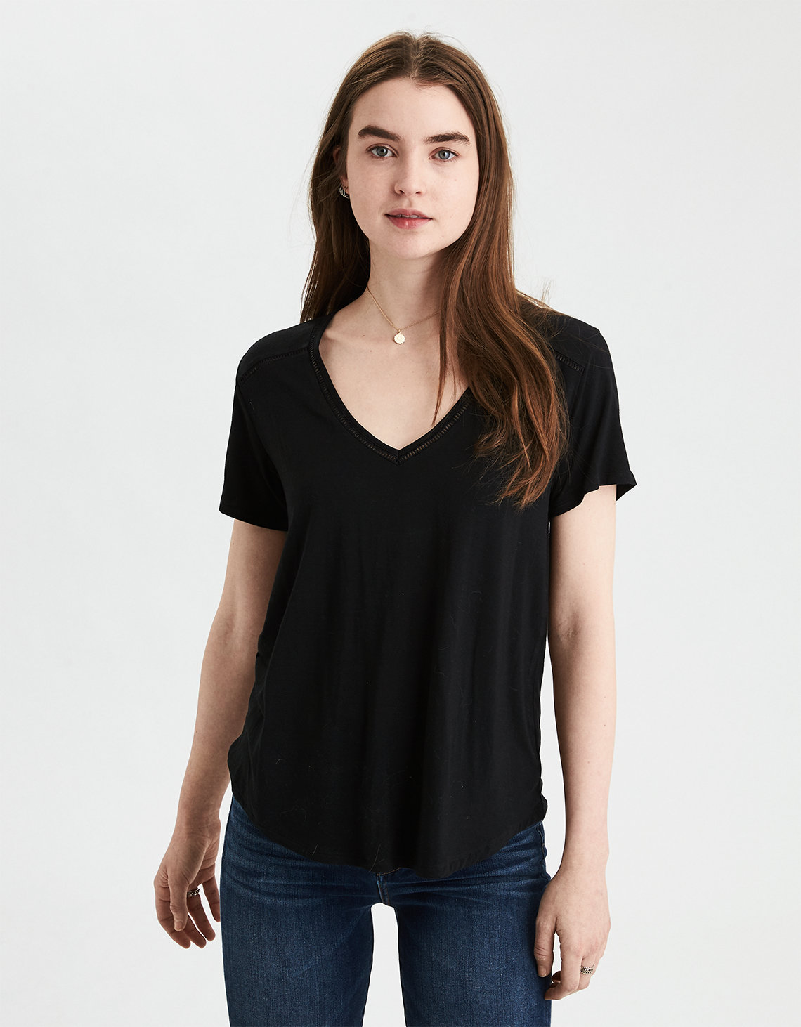 75b91c214ad9 AE Lace V-Neck Tee, True Black | American Eagle Outfitters