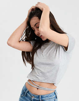 Ae Soft & Sexy Wrap Waist Crop Top by American Eagle Outfitters
