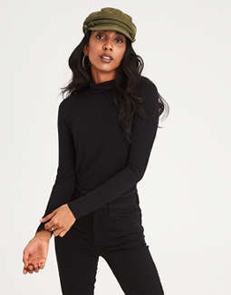 Ae Soft & Sexy Ribbed Mock Neck T Shirt by American Eagle Outfitters