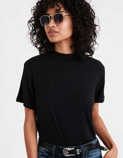 Ae Soft & Sexy Mock Neck T Shirt by American Eagle Outfitters