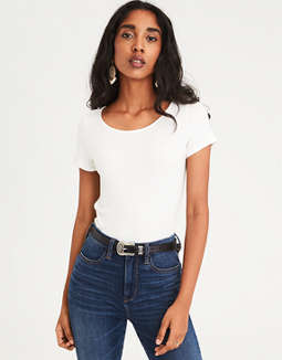 Ae Soft & Sexy Ribbed Baby Tee by American Eagle Outfitters