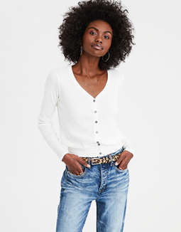 Ae Button Front Smocked Crop Top by American Eagle Outfitters