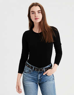 Ae Long Sleeve Bodysuit by American Eagle Outfitters