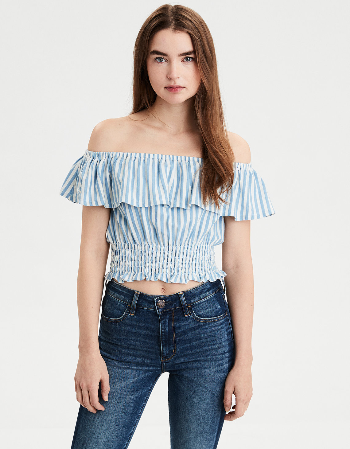 3474f740e4b5b AE Smocked Off The Shoulder Tee. Placeholder image. Product Image