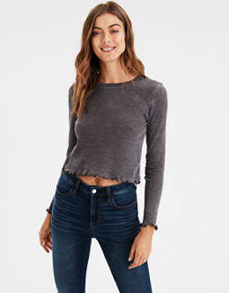 Ae Basic Waffle Lettuce Hem Tee by American Eagle Outfitters