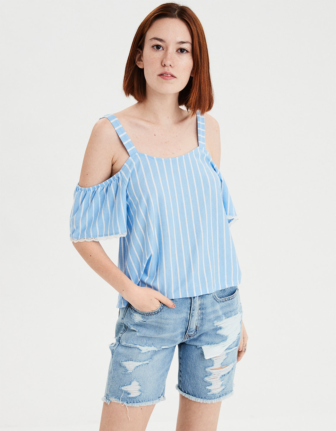 36ecfcd42bd89 AE Cold Shoulder Striped Top. Placeholder image. Product Image