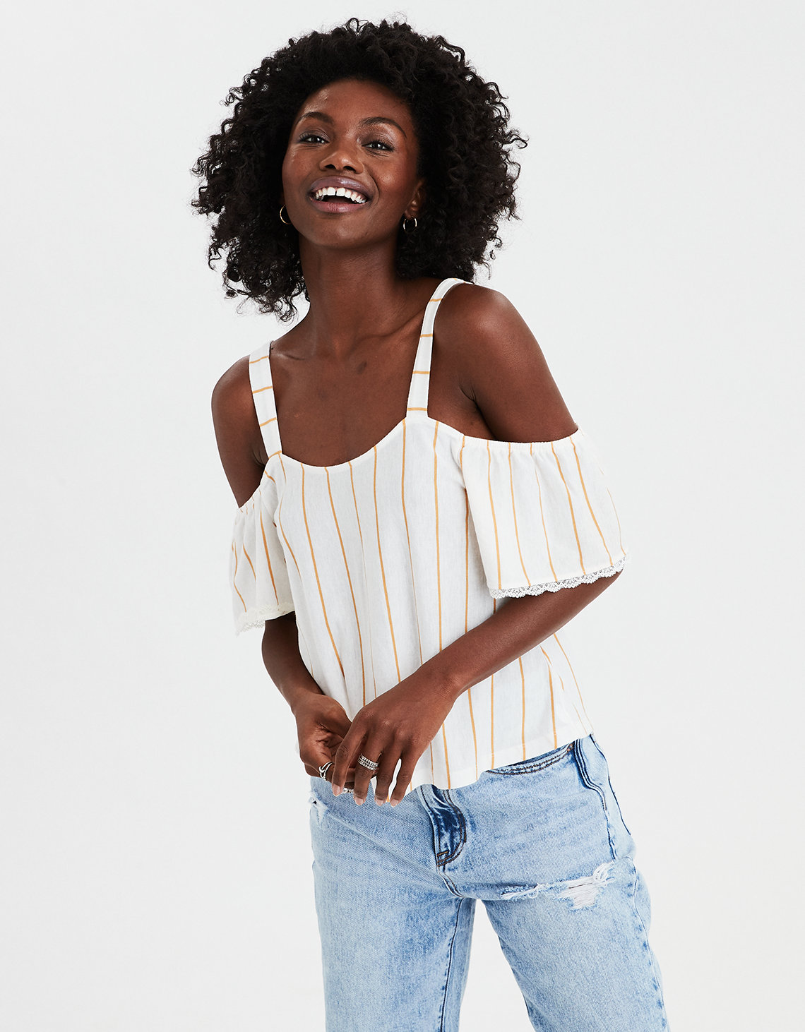 50b8d4b31ccb3 AE Cold Shoulder Striped Top. Placeholder image. Product Image