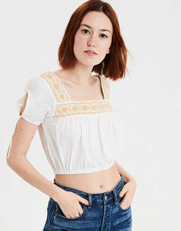 bffeea407c4 Shoptagr | Ae Embroidered Peasant Tee by American Eagle Outfitters