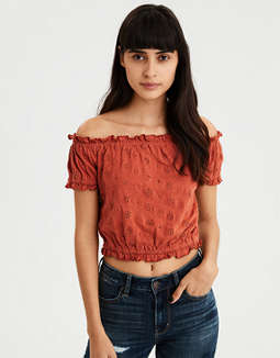 Ae Eyelet Bubble Tee by American Eagle Outfitters