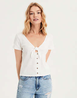 Ae Short Sleeve Tie Front Tee by American Eagle Outfitters