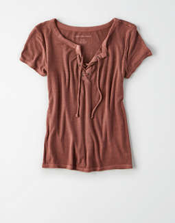 Ae Short Sleeve Notch Tee by American Eagle Outfitters