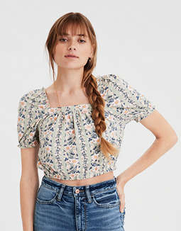 AE Printed Bubble Sleeve Crop Top