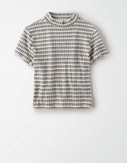 AE Plaid Mock Neck Baby T-Shirt