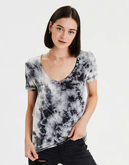 AE Soft & Sexy Tie Dye V-Neck T-Shirt