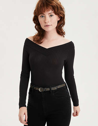 AE Long Sleeve Off-The-Shoulder Bodysuit