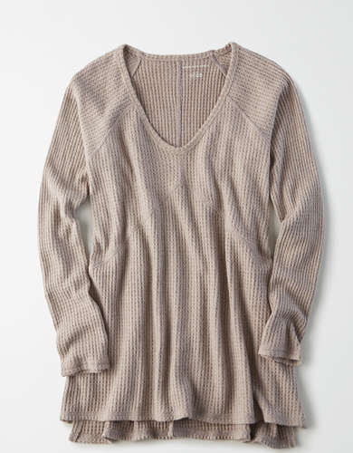 AE Waffle Plush Long Sleeve V-Neck T-Shirt