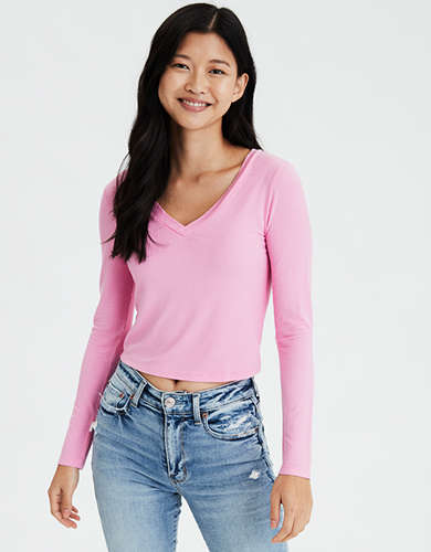 AE Long Sleeve V-Neck Cropped T-Shirt
