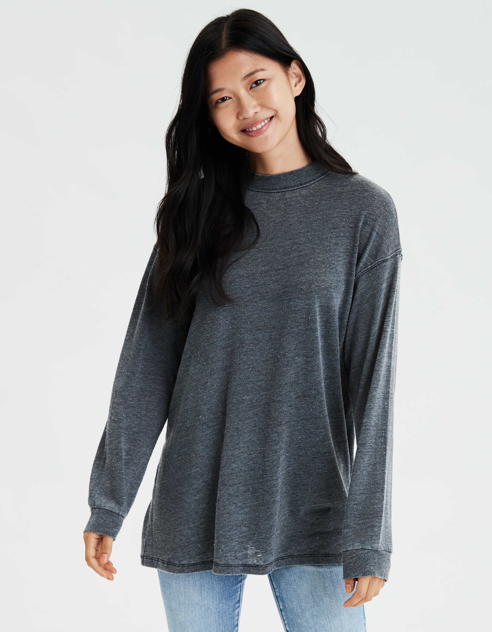 AE Oversized Long Sleeve Mock Neck T-Shirt