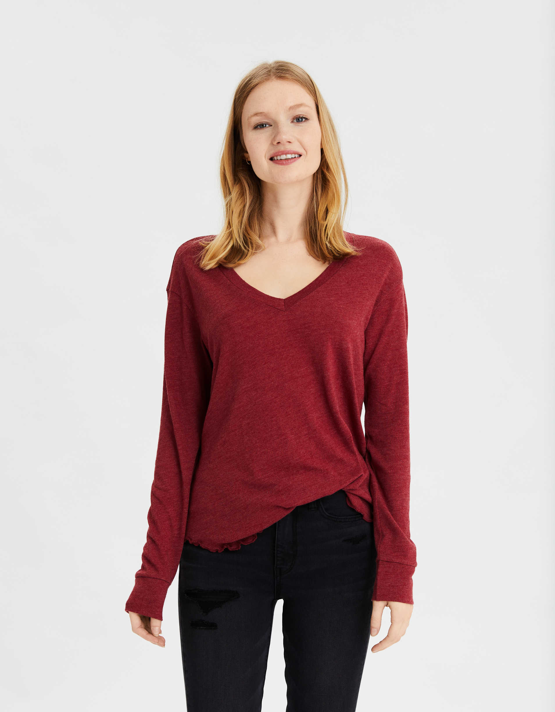 AE Long Sleeve V-Neck T-Shirt