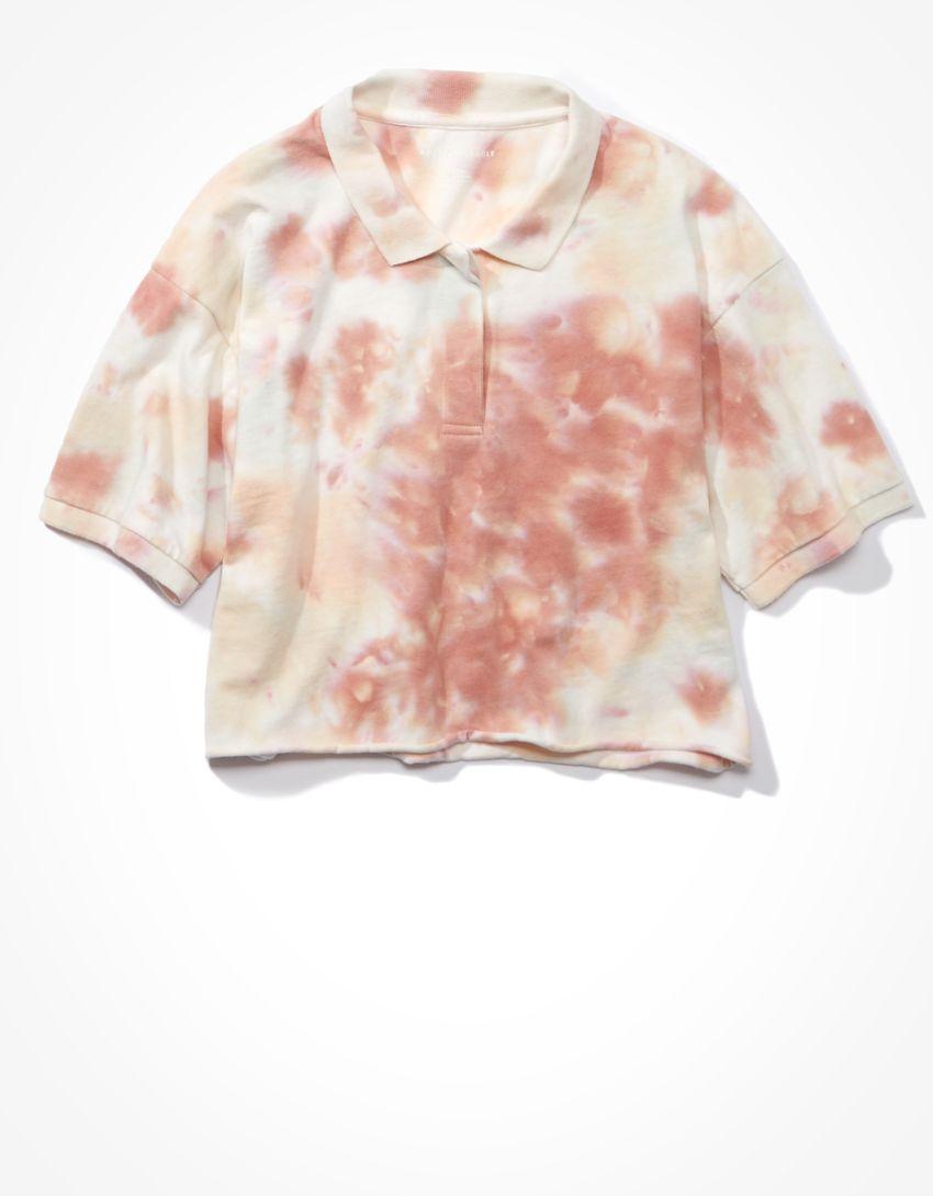 AE Cropped Tie-Dye Polo Shirt