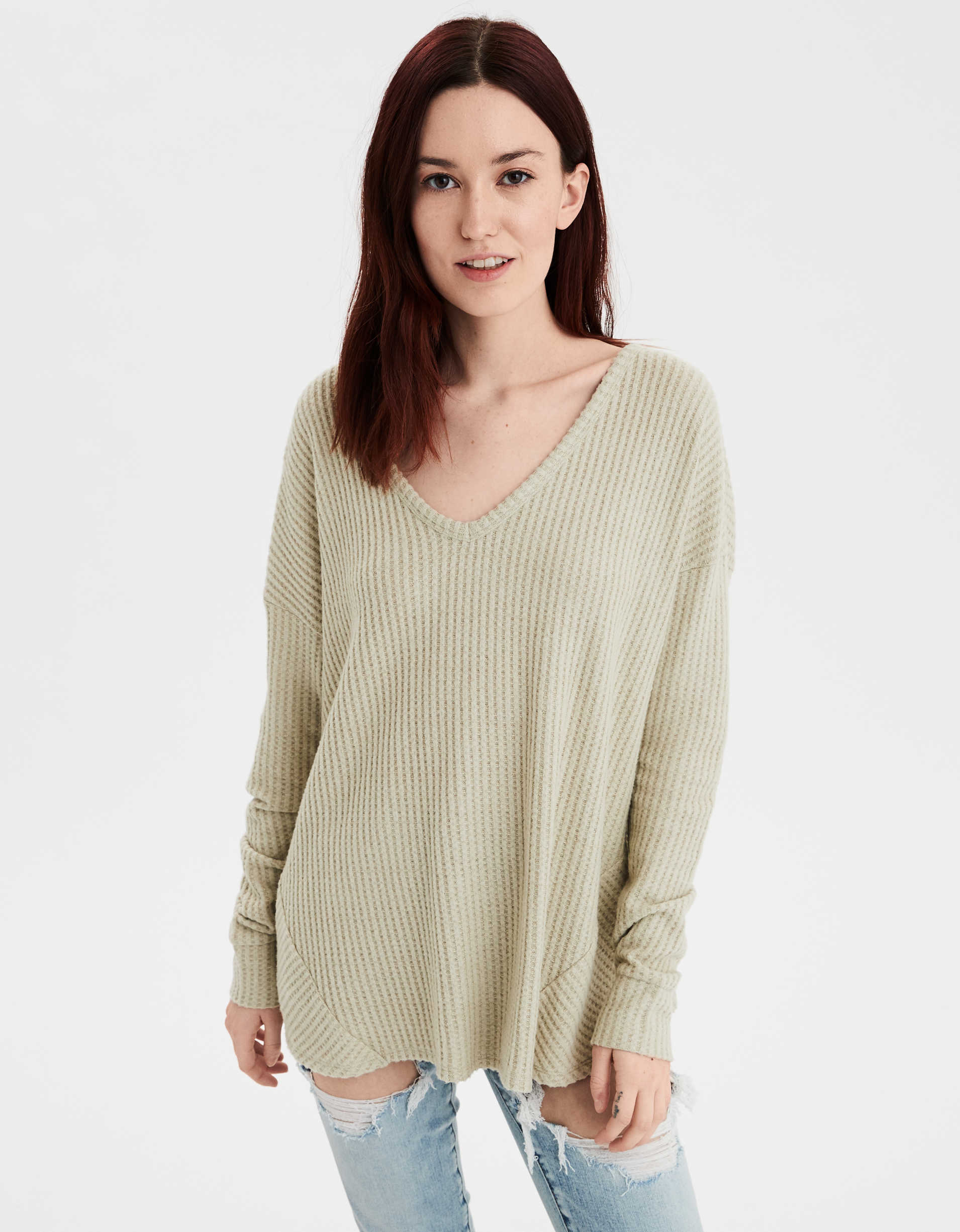 AE Soft Plush Long Sleeve Twist Back T-Shirt